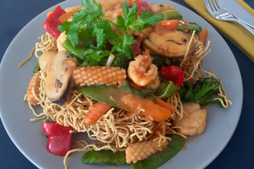 Crispy Egg Noodles with Seafood